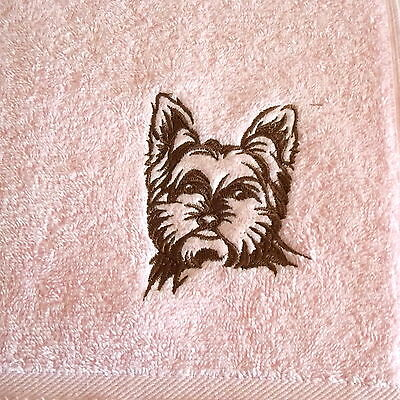 Yorkie, Yorkshire Terrier Embroidered Hand Towel, Dog Gift, Embroidery