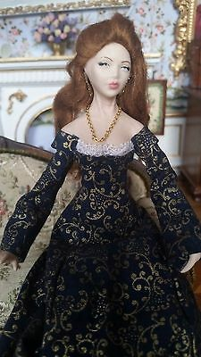 Dollhouse Miniature Artisan Lady with Red Hair  Doll Porcelain 1:12