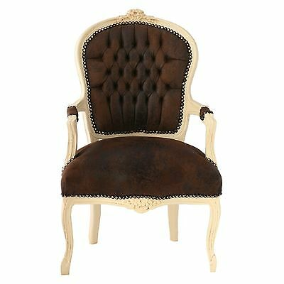Salon Furniture antique replica bedroom chairs beige frame in plush brown suede