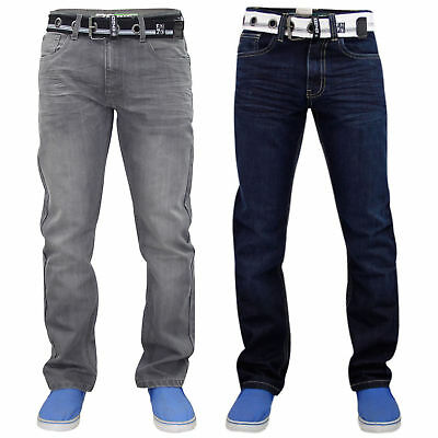Enzo Men Denim Jeans Regular Straight Cut Trouser Pants Free Belt All Waist Size