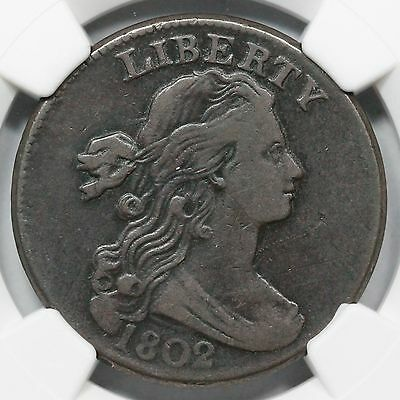 1802 S-227 R-2 NGC VF 20 Draped Bust Large Cent Coin 1c