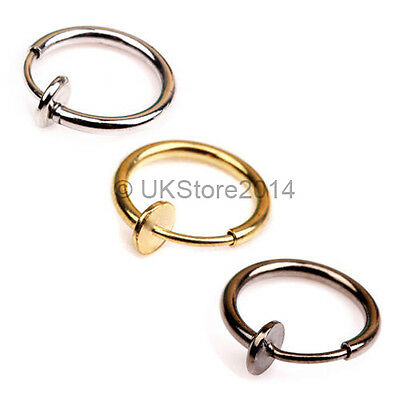 Clip On Cheater Fake Illusion Septum Lip Nose Ear Navel Eyebrow Ear Rings Hoop