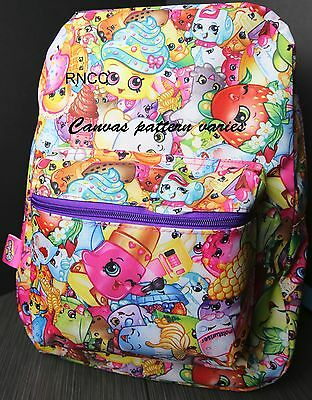 "Shopkins 16"" Colorful Girl's Canvas School Backpack (Varies Pattern)"