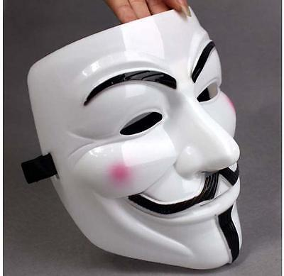 White V for Vendetta Anonymous Guy Fawkes Face Political Protest Mask Costume