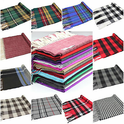 Soft & Warm Cashmere Feel Scarf Scottish Tartan Plaid Checked Scarves Men Women