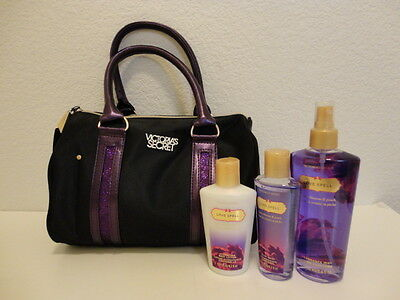 Victoria's Secret LOVE SPELL Hand Bag with Body Lotion Mist Wash NEW