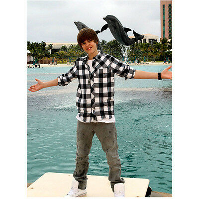 Justin Bieber Posing by Water with Dolphins 8 x 10 Inch Photo