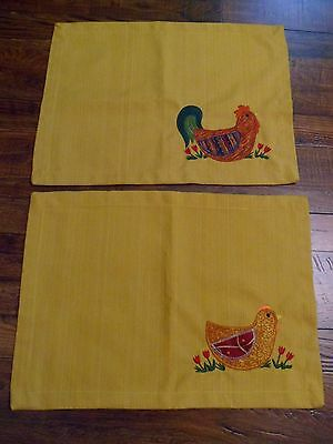 New Set of Two Harvest Gold Placemats Machine Embroidered ROOSTER & HEN