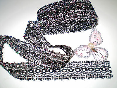 10 metres x 3cm wide lot of  black/white eyelet/coathanger/knitting in lace
