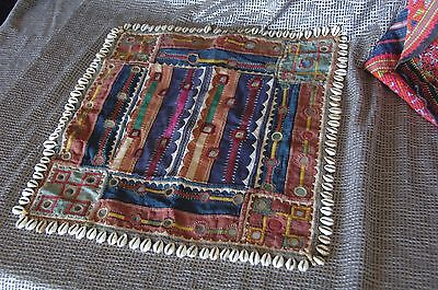 Old Himalayan Table Center Piece / Rug / Kilim   …with cowrie shells & mirrors