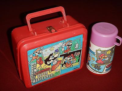 Nintendo Super Mario Bros. 1988 Lunch Box With Thermos Aladdin Red Plastic