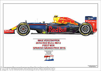 2016 Max Verstappen 1st win  Red Bull RB12 ltd. ed. signed/numbered by artist