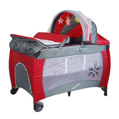 Portable Baby Fetal Travel Cot Bed Children Playpen With Entryway Toys Mat Red