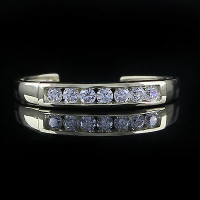 Adjustable Channel Set Brilliant Cut CZ Toe Ring Solid 10K Solid Gold