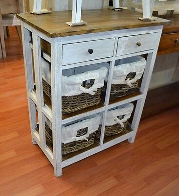 White basket storage drawers kitchen island shabby chic cabinet