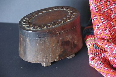 Old Carved Wooden Box & Lid …beautiful carved from one piece of wood