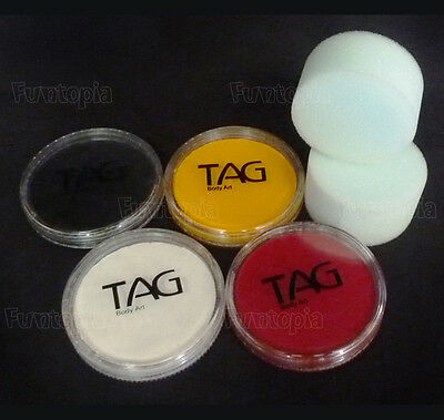 Funtopia's TAG Face Painting Kit - costume Halloween Cosplay Black white Red