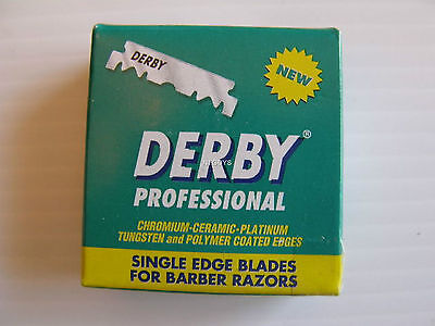 100 DERBY Single Edge Razor Blades for Barbers Platinum coated
