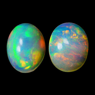 2.57Cts Natural White Yellow Ethiopian Opal Pair Top Fire Gemstone Oval Cabochon