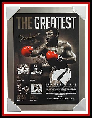 """Muhammad Ali Signed """"The Greatest"""" Boxing Limited Edition Print SILVER Frame COA"""