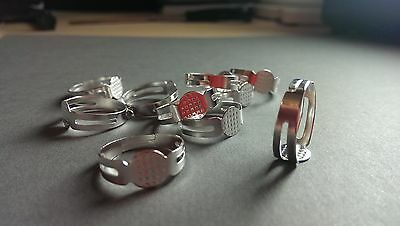 50 Silver Plated Adjustable Ring Settings Bases Blanks Pad lead/nickel safe
