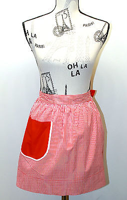Vintage Reversible Design Half Apron Red & White Stripes/Solid Red Feels Cotton