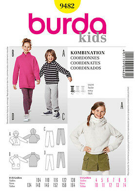 Burda 9482 Schnittmuster Kinder Kombination Shirtkleid Leggins Shirt Hose