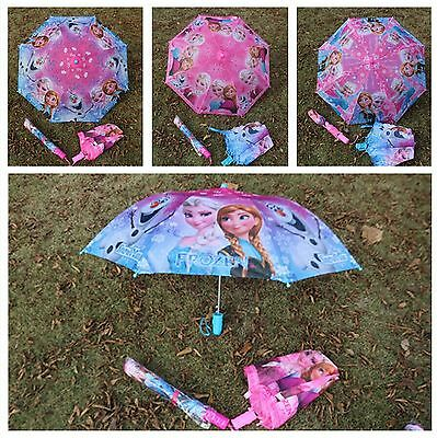 New Cartoon anna elsa girl Folding umbrella Sunny Rainy Umbrellas Hanging