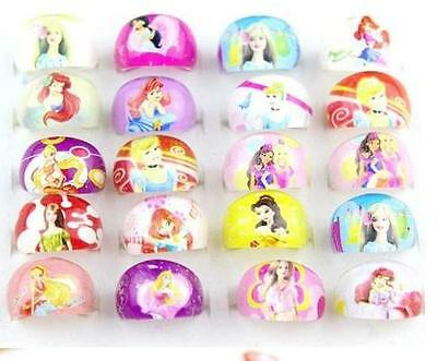 popular 100 Cartoon Girls Children princess Resin Rings Wholesale Jewelry lots