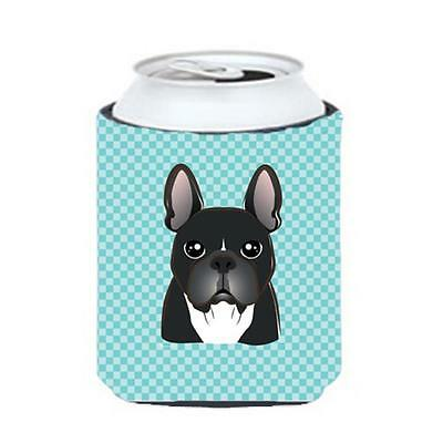 Checkerboard Blue French Bulldog Can Or Bottle Hugger, 12 Oz.