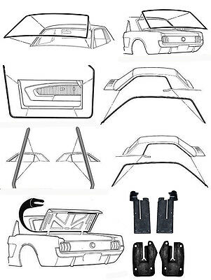 New! 1965-1966 Ford MUSTANG Deluxe Weatherstrip Seal Kit Windshield Roof Doors