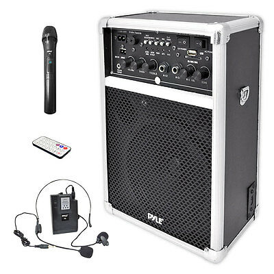 Pyle 400W Dual Wireless Microphone Portable PA DJ Speaker Loud Speaker