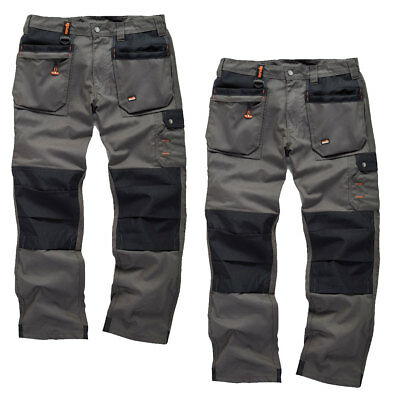 Scruffs WORKER PLUS TWIN PACK Graphite Grey Work Trousers Trade Hardwearing