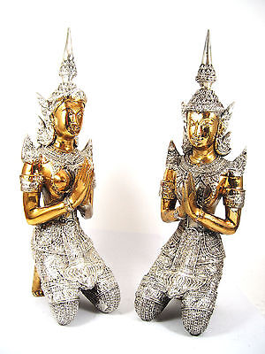 Teppanom Pair Brass 2Color Gold Silver Kneeling Thai Buddha Guardian Angel