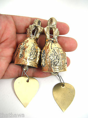 2.50cm. BELL VINTAGE THAI TEMPLE HOME HANGING WIND CHIME BRASS BELL DECOR
