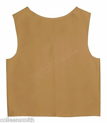 Khaki Cotton / Polyester Twill Patch Vest YMCA Guides Cub Scout Award Club
