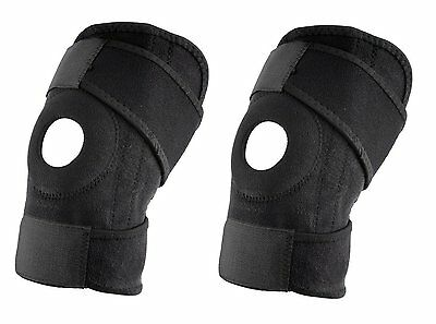 2 X Neoprene 20CM High Patella Black Elastic Knee Support Brace Fastener Gym Uk