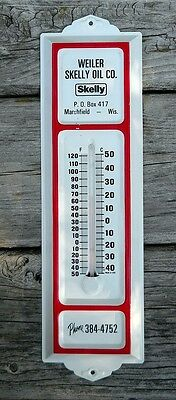 Vintage Gas & Oil Skelly Advertising Thermometer Service Station Metal Sign Wi
