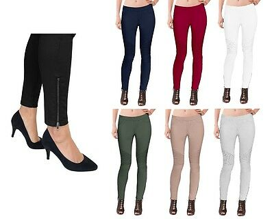 Womens Super Comfy Stretch Ankle Zip Moto Skinny Pants Jeggings