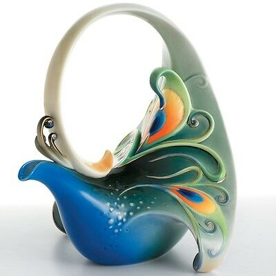 Franz Porcelain Collection Luminescence Peacock Teapot | FZ01209