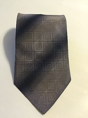 Hugo Boss Men Violet Purple 100% Silk Necktie Made In Italy Square Geometric