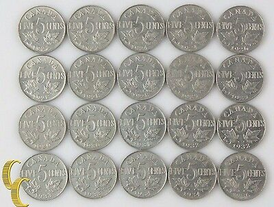 1922-1936 Canada 5 Cent Lot (Most VF-XF, 20 coin) George V Nickel Five 5c KM-29