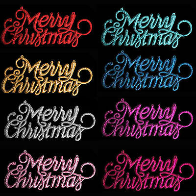 Christmas Decoration 3 Pack Glitter Merry Christmas Signs Choose