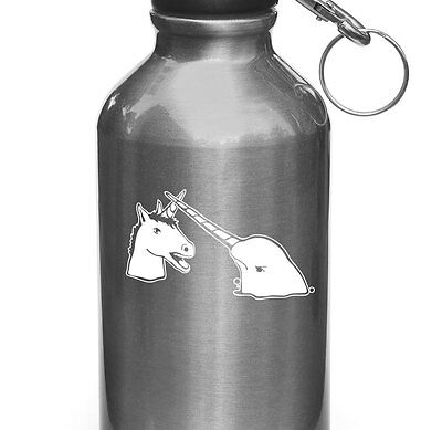 """WB - Narwhal V Unicorn Water Bottle Decal - Design 2 ©YYDC (3.25""""w x 2""""h)(WHITE)"""