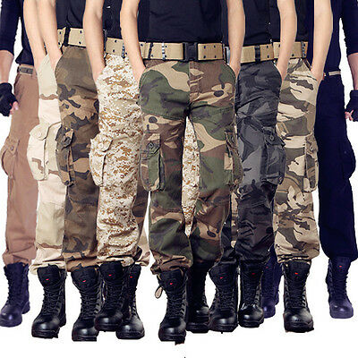 Mens Camo Tactical Military Combat Work Duty Trousers Hunting Hiking Cargo Pants