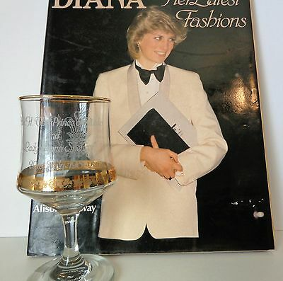 Princess Di Combo-Commemorative Wine Glass 1981 & Book Diana's Latest Fashions
