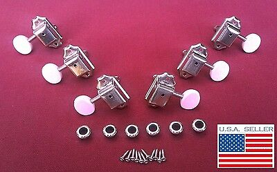 NEW Kluson Style Vintage 3+3 Nickel Guitar Tuners w/ White Oval Buttons