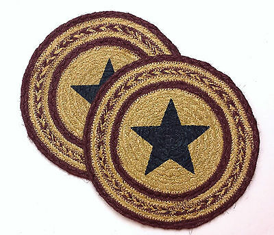 "Set of 2 POTOMAC Country Primitve 8"" Round Jute Trivets"