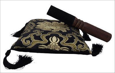 Tibetan Singing Bowl Black Cushion Cover With Striker from Everest