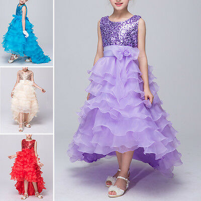Pageant Sequins Trailing Dress Flower Girl Princess Wedding Formal Gown For Kids